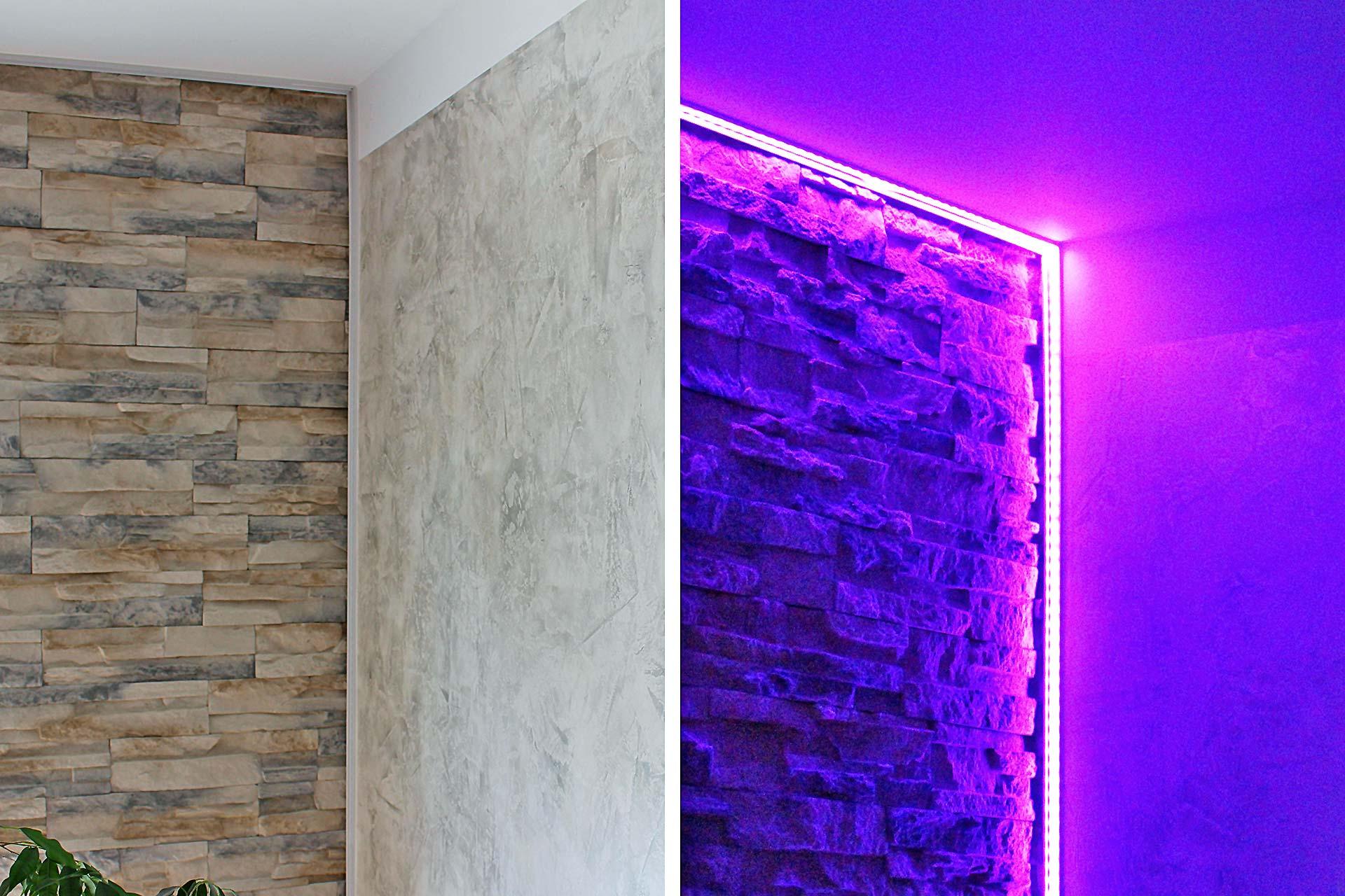 Wand mit Verblendsteinen und einer Spachteltechnik - ohne (links) und mit Beleuchtung (rechts)